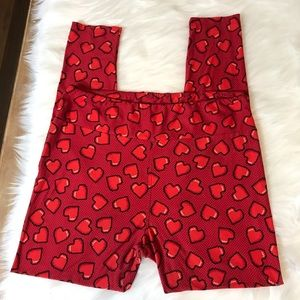 Heart Leggings Red Tall and Curvy LulaRoe